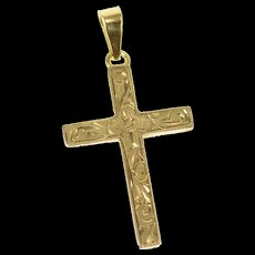 10K 1940's Ornate Scroll Pattern Cross Christian Pendant Yellow Gold [CXQQ]