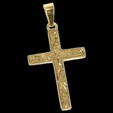 10K 1940's Ornate Scroll Pattern Cross Christian Pendant Yellow Gold [CXQQ]