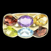 14K Amethyst Garnet Citrine Topaz Peridot Band Ring Size 8.25 Yellow Gold [CXQQ]