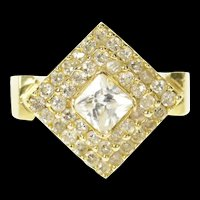 14K Princess Cubic Zirconia Halo Travel Engagement Ring Size 8 Yellow Gold [CQXT]