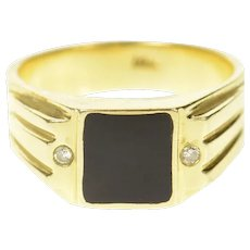 14K Men's Black Onyx Diamond Accent Statement Ring Size 9.75 Yellow Gold [CXQQ]