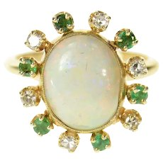 14K Victorian Natural Opal Diamond Emerald Halo Ring Size 6 Yellow Gold [CQXT]