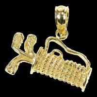 14K Classic Golf Club Bag Golfer Charm/Pendant Yellow Gold [CXQQ]