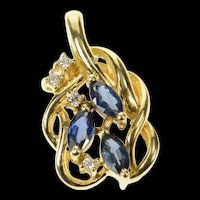 14K Marquise Sapphire Diamond Accent Wavy Cluster Pendant Yellow Gold [CXQQ]