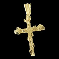 14K Textured Tree Branch Cross Christian Faith Pendant Yellow Gold [CXQQ]