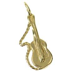 10K Acoustic Guitar Musical Instrument Music Charm/Pendant Yellow Gold [CXQQ]