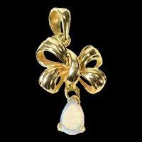 14K Pear Natural Opal Dangle Ribbon Bow Pendant Yellow Gold [CXQQ]