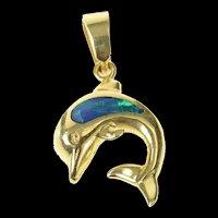 14K Black Opal Inlay Dolphin Ocean Animal Pendant Yellow Gold [CXQQ]