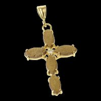 14K Diamond Accent Brown Stone Marquise Cross Pendant Yellow Gold [CXQQ]