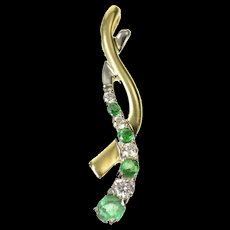 10K Two Tone Emerald Diamond Wavy Statement Pendant Yellow Gold [CXQQ]