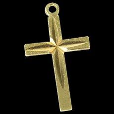 14K Diamond Cut Cross Christian Faith Symbol Charm/Pendant Yellow Gold [CXQQ]
