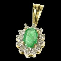 10K Natural Oval Emerald Diamond Halo Pendant Yellow Gold [CXQQ]