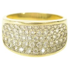 14K Pave Curved CZ Encrusted Statement Band Ring Size 8 Yellow Gold [CXQQ]