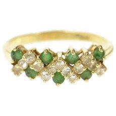 14K Zig Zag Diamond Emerald Wedding Band Ring Size 6.5 Yellow Gold [CXQQ]