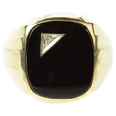 14K Men's Black Onyx Diamond Inlay Men's Ring Size 8.75 Yellow Gold [CXQQ]