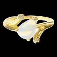 14K Pear Natural Opal Diamond Accent Statement Ring Size 5 Yellow Gold [CXQQ]