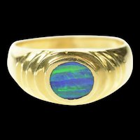 14K Oval Black Opal Inlay Grooved Statement Ring Size 6 Yellow Gold [CXQQ]