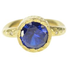 Sterling Silver Hammered Textured Syn. Sapphire Statement Ring Size 6.75  [CXQQ]