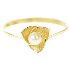 14K Retro Classic Pearl Floral Leaf Statement Ring Size 6.75 Yellow Gold [CXQQ]