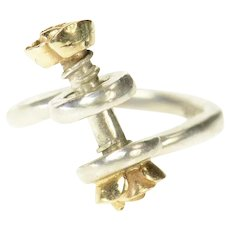 Sterling Silver Two Tone Rose Screw Bypass Statement Ring Size 7.25  [CXQQ]