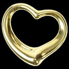 18K Tiffany & Co Classic Paloma Picasso Heart Pendant Yellow Gold [CXQQ]
