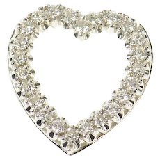 14K 0.48 Ctw Diamond 1950's Classic Heart Pendant White Gold [CXQQ]