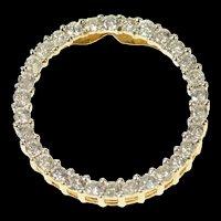 10K 1.20 Ctw Classic Diamond Circle Statement Pendant Yellow Gold [CXQQ]