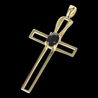 10K Oval Sapphire Inset Classic Cross Christian Pendant Yellow Gold [CXQQ]