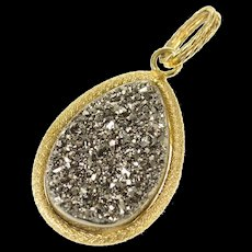14K Pear Smoky Druzy Ornate Statement Pendant Yellow Gold [CXQQ]