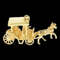 14K 3D Articulated Horse Drawn Carriage Royalty Charm/Pendant Yellow Gold [CXQQ]