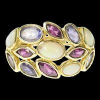 14K Natural Opal Amethyst Tourmaline Statement Ring Size 6.25 Yellow Gold [CXQQ]