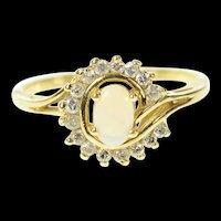 14K Natural Opal Diamond Swirl Halo Statement Ring Size 6.25 Yellow Gold [CXQQ]