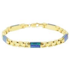 "14K Classic Squared Link Black Opal Inlay Chain Bracelet 7"" Yellow Gold [CXQQ]"