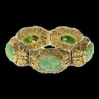 "14K Ornate Floral Carved Jade Filigree Statement Bracelet 6.75"" Yellow Gold [CXQQ]"