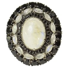 Sterling Silver Oval Moonstone Black Onxy Halo Cocktail Ring Size 8.75  [CXQQ]