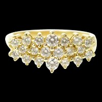 14K Tiered Cluster Row Statement Wedding Band Ring Size 9 Yellow Gold [CQXT]