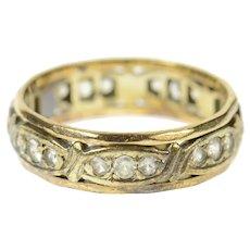 9K Victorian Ornate Rhinestone Wedding Band Ring Size 6.75 Yellow Gold [CXQQ]