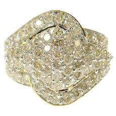 10K 1.95 Ctw Wavy Diamond Cluster Statement Ring Size 7 Yellow Gold [CXQQ]