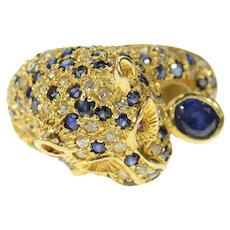 14K Pave Diamond Sapphire Jaguar Leopard Ring Size 6.5 Yellow Gold [CXQQ]