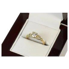 10K 0.62 Ctw 1940's Classic Diamond Engagement Ring Size 4.75 Yellow Gold [CXQQ]