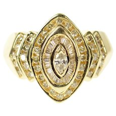 14K Tiered Diamond Marquise Cluster Statement Ring Size 7.25 Yellow Gold [CXQQ]