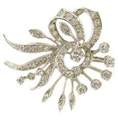 14K 1930's Ornate Floral Diamond Swirl Statement Pin/Brooch White Gold [CXQQ]