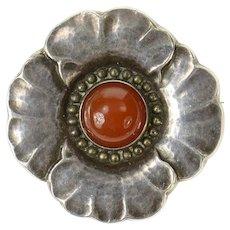 Sterling Silver Georg Jensen Ornate Carnelian Leaf Flower 189 Pin/Brooch  [CXQQ]