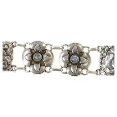 """Sterling Silver Georg Jensen Ornate Floral Moonstone 26 Bracelet 7.5""""  [CXQC]"""