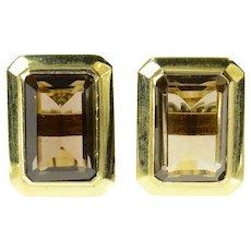 14K Emerald Cut Smoky Quartz Retro Cuff Links Yellow Gold [CQXT]