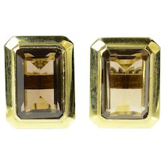 14K Emerald Cut Smoky Quartz Retro Cuff Links Yellow Gold [CXQC]