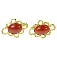 14K Retro 1960's Red Coral Cabochon Ornate Cuff Links Yellow Gold [CQXC]