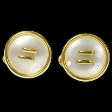 18K Mother of Pearl Inlay Ornate Retro Button Cuff Links Yellow Gold [CQXT]