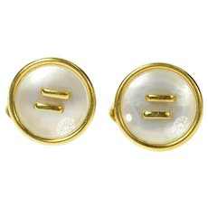 18K Mother of Pearl Inlay Ornate Retro Button Cuff Links Yellow Gold [CXQC]