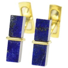 18K Square 1960's Lapis Lazuli Retro Block Cuff Links Yellow Gold [CQXC]